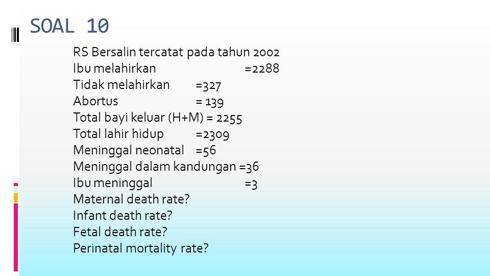 SOAL 10 RS Bersalin tercatat pada tahun 2002 Ibu melahirkan=2288 Tidak melahirkan=327 Abortus= 139 Total bayi keluar (H+M) = 2255 Total lahir hidup =2309 Meninggal neonatal =56 Meninggal dalam kandungan =36 Ibu meninggal =3 Maternal death rate.