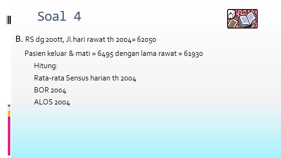 SOAL 5 A.RUANG RAWAT JANTUNG tt=20 th 2001. Jumlah hari rawat = 5260 hari.