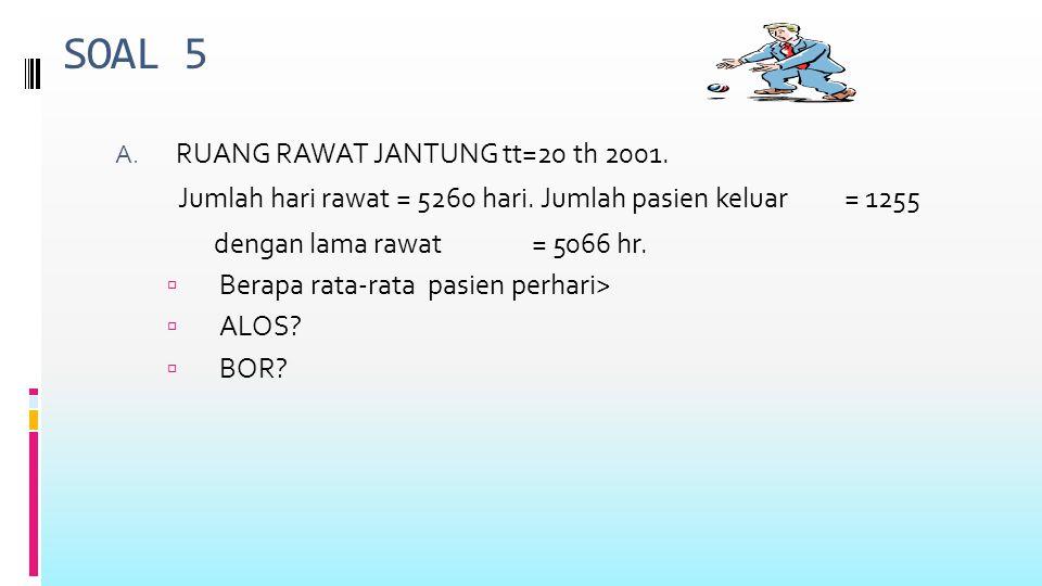 SOAL 5 B.RS dengan 700 tt tahun 1985 Masuk = 14117 Keluar ( H+M) = 14086 Lama rawat =137202 Jl.