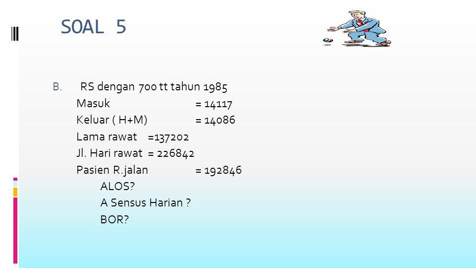 SOAL 5 B. RS dengan 700 tt tahun 1985 Masuk = 14117 Keluar ( H+M) = 14086 Lama rawat =137202 Jl.