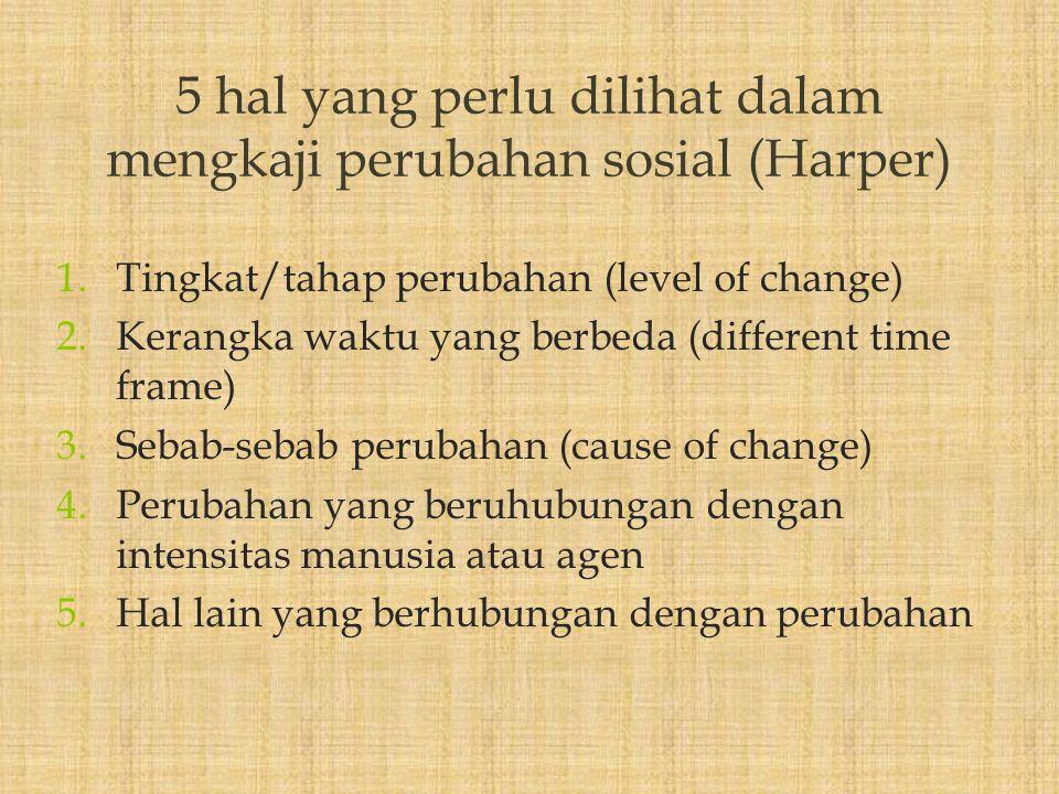 1.Tingkat/tahap perubahan (level of change) 2.Kerangka waktu yang berbeda (different time frame) 3.Sebab-sebab perubahan (cause of change) 4.Perubahan yang beruhubungan dengan intensitas manusia atau agen 5.Hal lain yang berhubungan dengan perubahan 5 hal yang perlu dilihat dalam mengkaji perubahan sosial (Harper)