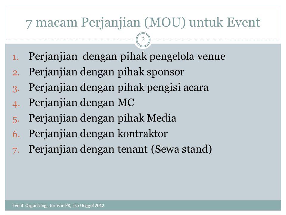 7 macam Perjanjian (MOU) untuk Event 1. Perjanjian dengan pihak pengelola venue 2. Perjanjian dengan pihak sponsor 3. Perjanjian dengan pihak pengisi