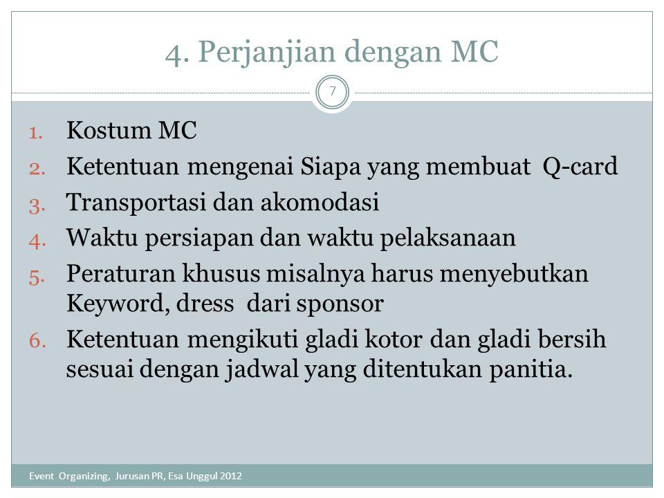 4. Perjanjian dengan MC 1. Kostum MC 2. Ketentuan mengenai Siapa yang membuat Q-card 3. Transportasi dan akomodasi 4. Waktu persiapan dan waktu pelaks