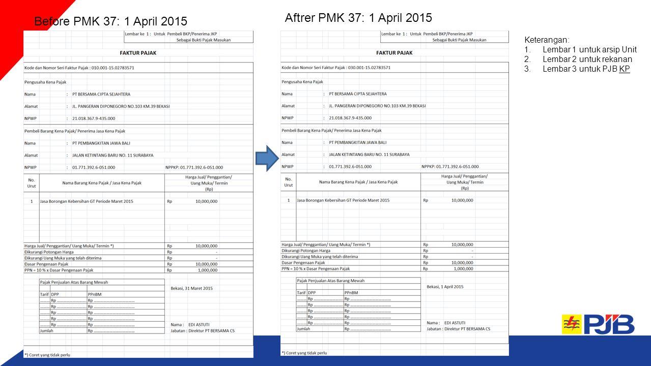 Before PMK 37: 1 April 2015 Aftrer PMK 37: 1 April 2015 Keterangan: 1.Lembar 1 untuk arsip Unit 2.Lembar 2 untuk rekanan 3.Lembar 3 untuk PJB KPKP