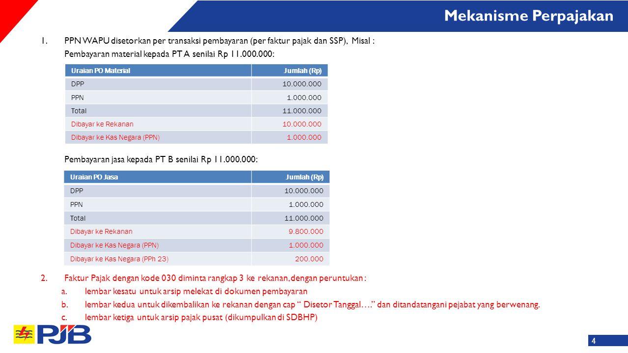 1.PPN WAPU disetorkan per transaksi pembayaran (per faktur pajak dan SSP), Misal : Pembayaran material kepada PT A senilai Rp 11.000.000: Pembayaran j
