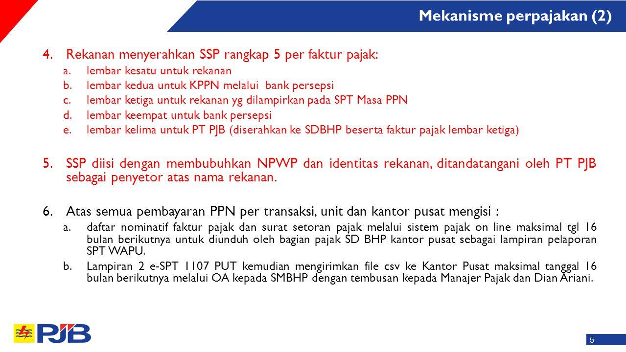 4.Rekanan menyerahkan SSP rangkap 5 per faktur pajak: a.lembar kesatu untuk rekanan b.lembar kedua untuk KPPN melalui bank persepsi c.lembar ketiga un