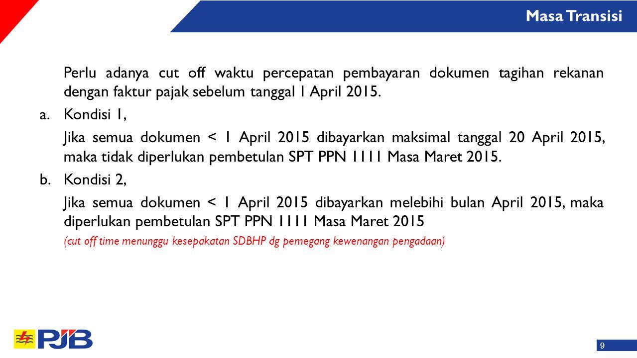Perlu adanya cut off waktu percepatan pembayaran dokumen tagihan rekanan dengan faktur pajak sebelum tanggal 1 April 2015. a.Kondisi 1, Jika semua dok