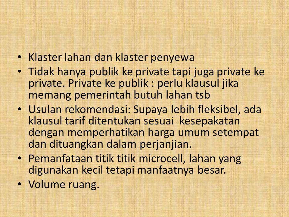 Klaster lahan dan klaster penyewa Tidak hanya publik ke private tapi juga private ke private.