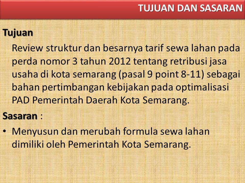 Tujuan Review struktur dan besarnya tarif sewa lahan pada perda nomor 3 tahun 2012 tentang retribusi jasa usaha di kota semarang (pasal 9 point 8-11) sebagai bahan pertimbangan kebijakan pada optimalisasi PAD Pemerintah Daerah Kota Semarang.