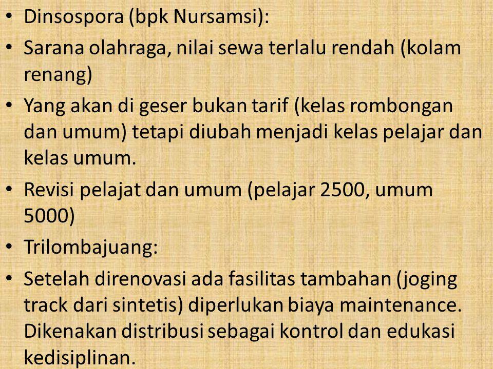 Dinsospora (bpk Nursamsi): Sarana olahraga, nilai sewa terlalu rendah (kolam renang) Yang akan di geser bukan tarif (kelas rombongan dan umum) tetapi diubah menjadi kelas pelajar dan kelas umum.