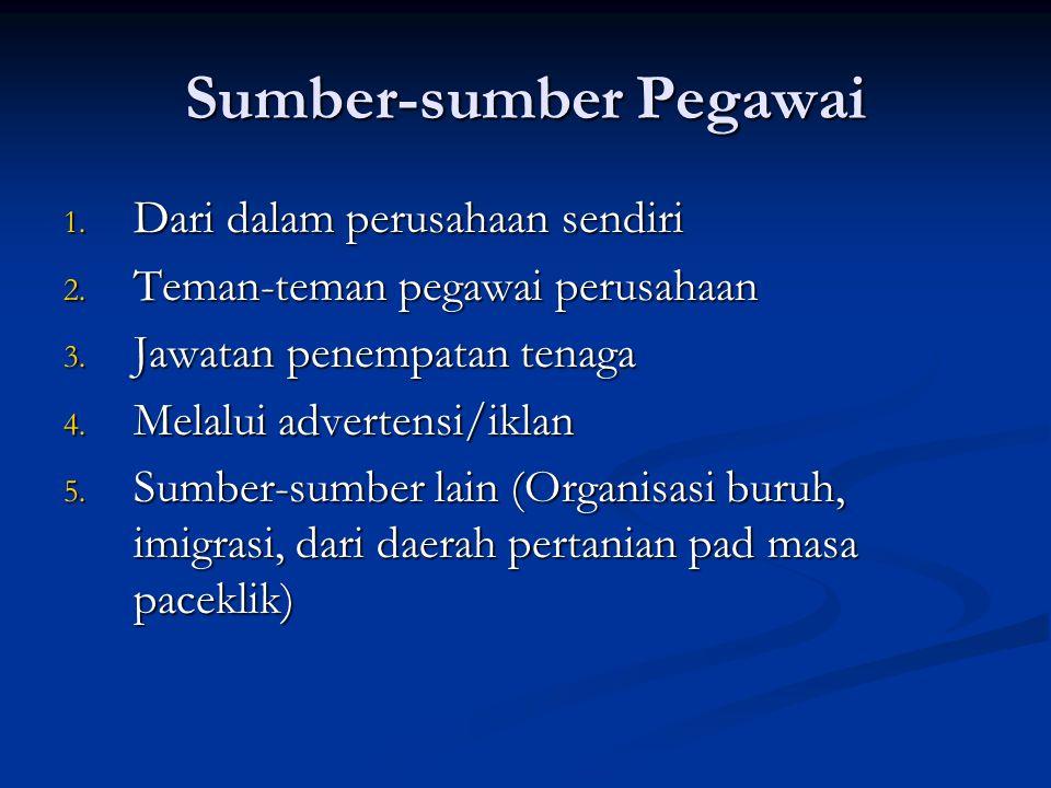 Seleksi Pegawai Proses : 1. Pengisian formulir-formulir 2. Tes psikologi 3. Wawancara 4. referensi