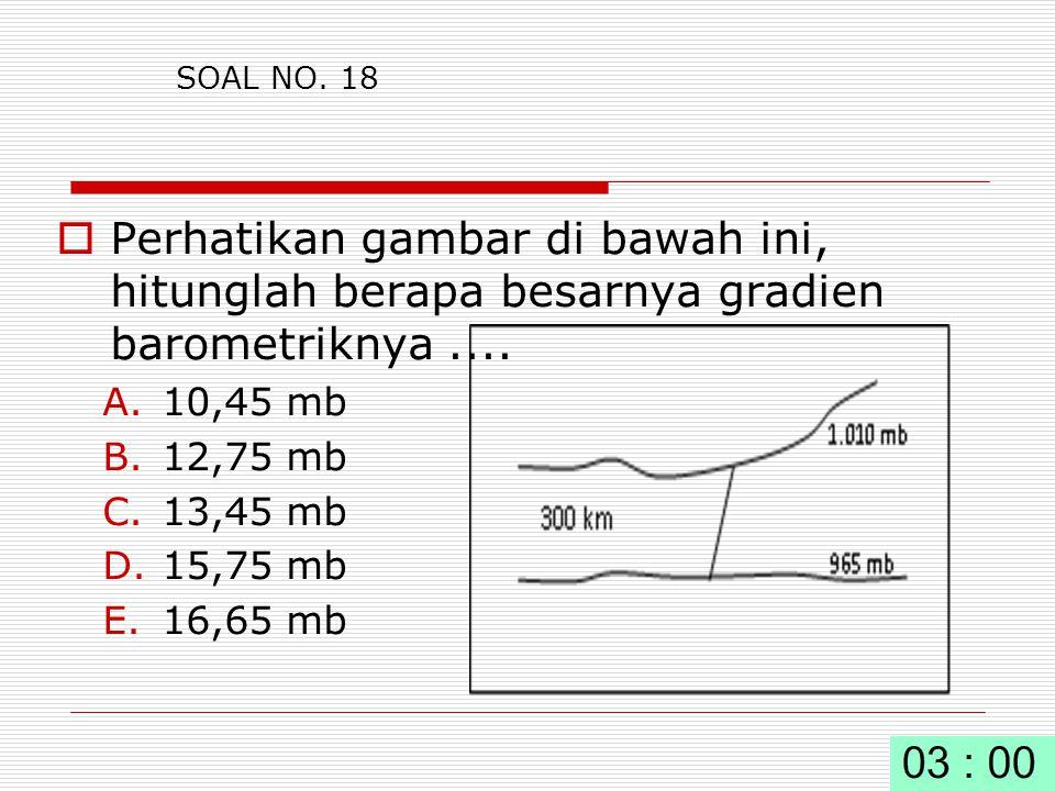 SOAL NO.18  Perhatikan gambar di bawah ini, hitunglah berapa besarnya gradien barometriknya....
