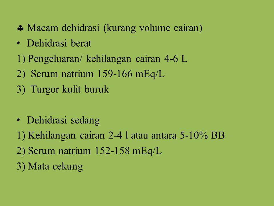  Macam dehidrasi (kurang volume cairan) Dehidrasi berat 1) Pengeluaran/ kehilangan cairan 4-6 L 2) Serum natrium 159-166 mEq/L 3) Turgor kulit buruk