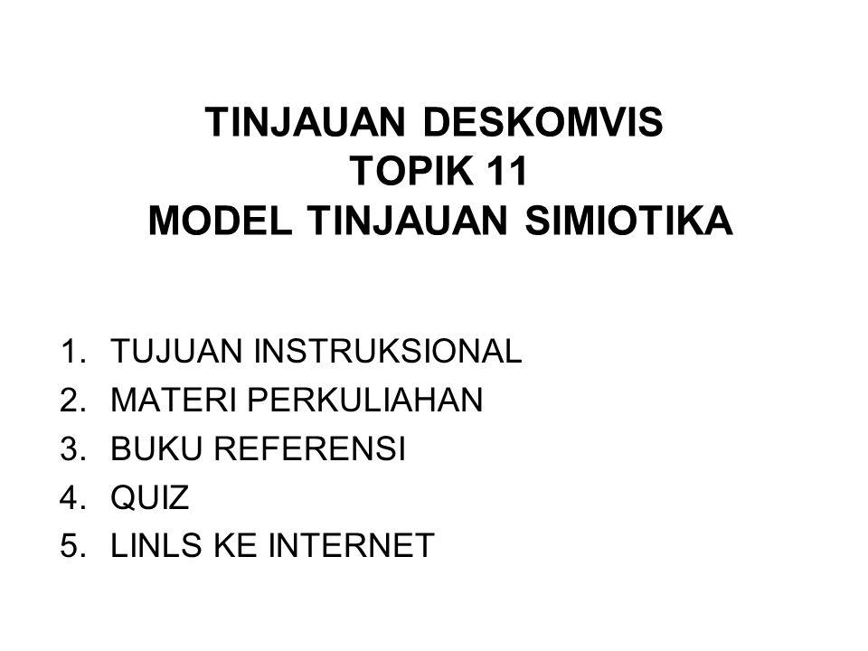 TINJAUAN DESKOMVIS TOPIK 11 MODEL TINJAUAN SIMIOTIKA 1.TUJUAN INSTRUKSIONAL 2.MATERI PERKULIAHAN 3.BUKU REFERENSI 4.QUIZ 5.LINLS KE INTERNET