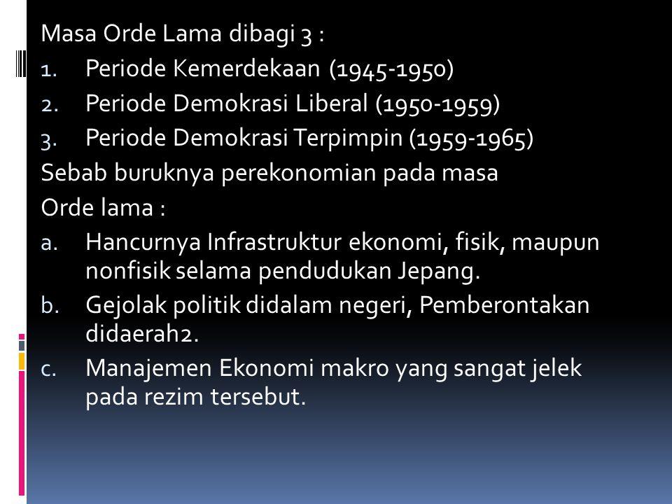 Masa Orde Lama dibagi 3 : 1.Periode Kemerdekaan (1945-1950) 2.