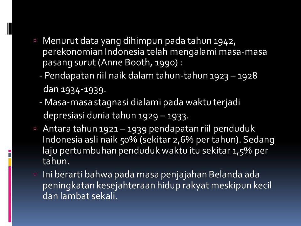  Menurut data yang dihimpun pada tahun 1942, perekonomian Indonesia telah mengalami masa-masa pasang surut (Anne Booth, 1990) : - Pendapatan riil naik dalam tahun-tahun 1923 – 1928 dan 1934-1939.