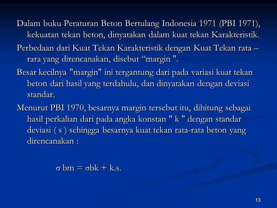13 Dalam buku Peraturan Beton Bertulang Indonesia 1971 (PBI 1971), kekuatan tekan beton, dinyatakan dalam kuat tekan Karakteristik. Perbedaan dari Kua
