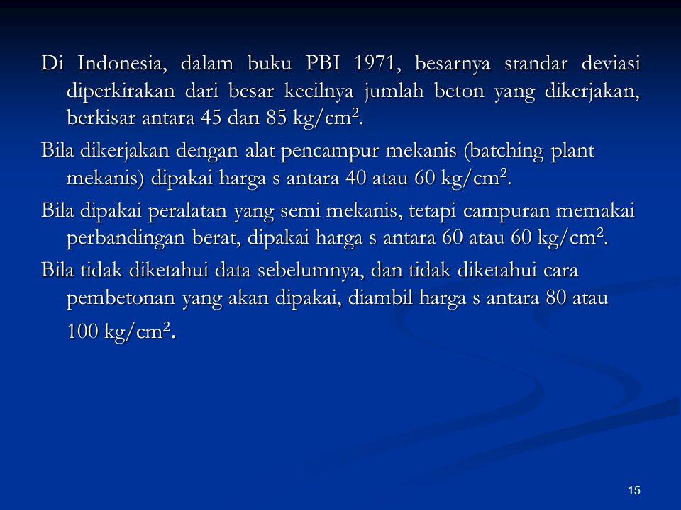 15 Di Indonesia, dalam buku PBI 1971, besarnya standar deviasi diperkirakan dari besar kecilnya jumlah beton yang dikerjakan, berkisar antara 45 dan 8