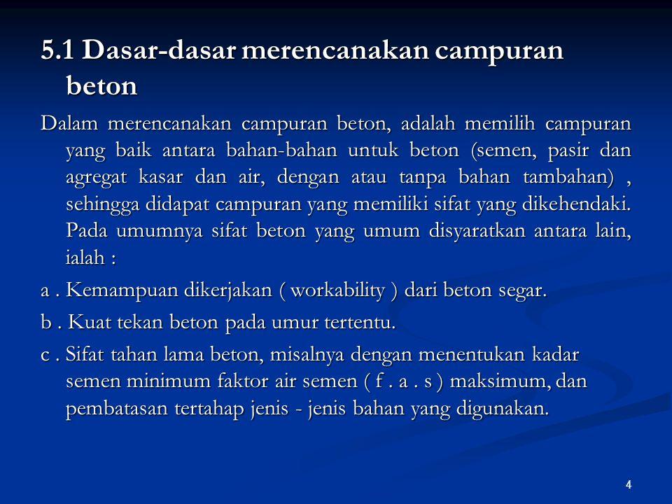 15 Di Indonesia, dalam buku PBI 1971, besarnya standar deviasi diperkirakan dari besar kecilnya jumlah beton yang dikerjakan, berkisar antara 45 dan 85 kg/cm 2.