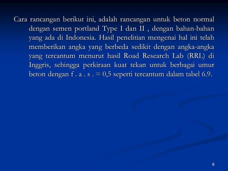 6 Cara rancangan berikut ini, adalah rancangan untuk beton normal dengan semen portland Type I dan II, dengan bahan-bahan yang ada di Indonesia. Hasil