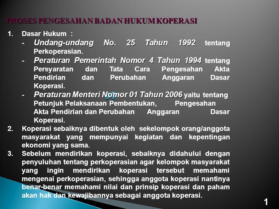 1.Dasar Hukum : Undang-undang No. 25 Tahun 1992 - Undang-undang No. 25 Tahun 1992 tentang Perkoperasian. Peraturan Pemerintah Nomor 4 Tahun 1994 - Per