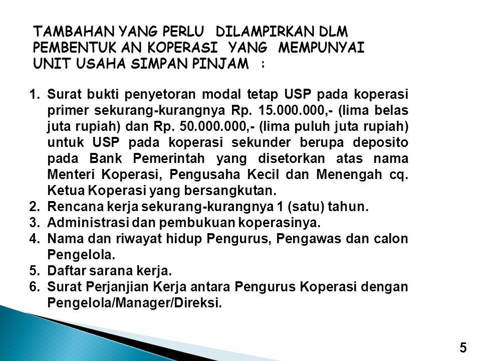 1.Surat bukti penyetoran modal tetap USP pada koperasi primer sekurang-kurangnya Rp. 15.000.000,- (lima belas juta rupiah) dan Rp. 50.000.000,- (lima