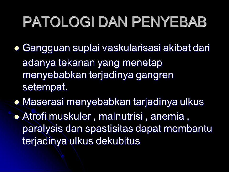PATOLOGI DAN PENYEBAB Gangguan suplai vaskularisasi akibat dari Gangguan suplai vaskularisasi akibat dari adanya tekanan yang menetap menyebabkan terjadinya gangren setempat.