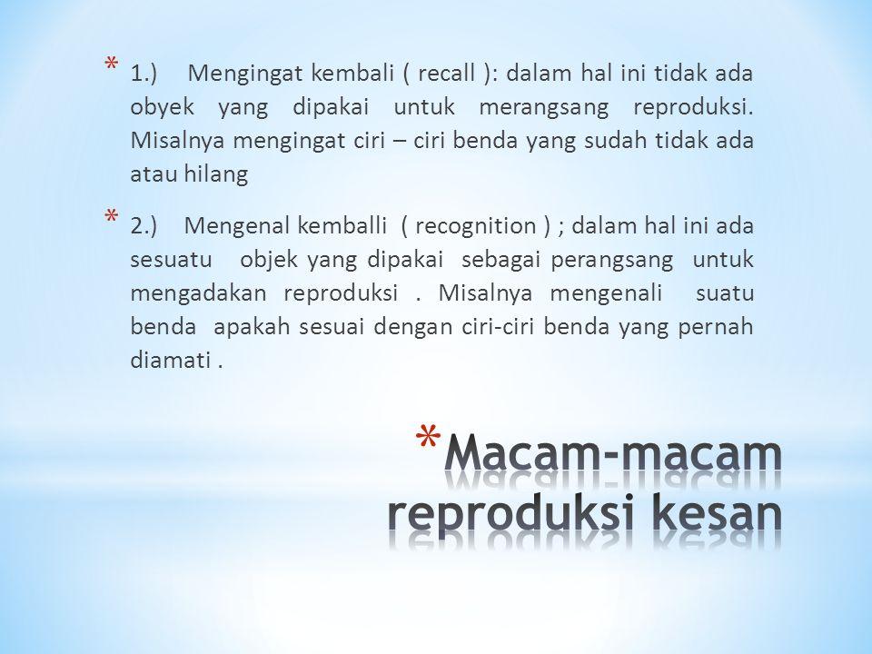 * 1.) Mengingat kembali ( recall ): dalam hal ini tidak ada obyek yang dipakai untuk merangsang reproduksi. Misalnya mengingat ciri – ciri benda yang