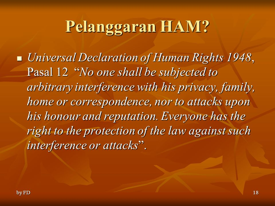 "Pelanggaran HAM? Universal Declaration of Human Rights 1948, Pasal 12 ""No one shall be subjected to arbitrary interference with his privacy, family, h"
