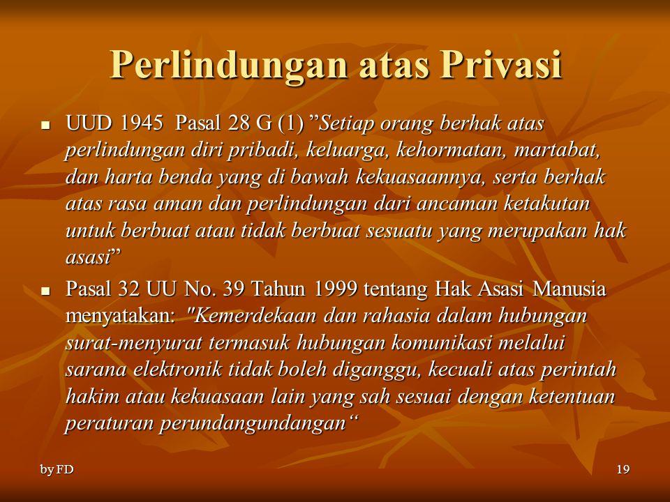"""Perlindungan atas Privasi UUD 1945 Pasal 28 G (1) """"Setiap orang berhak atas perlindungan diri pribadi, keluarga, kehormatan, martabat, dan harta benda"""