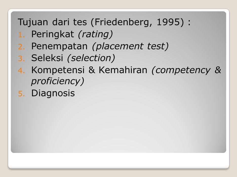 Tujuan dari tes (Friedenberg, 1995) : 1. Peringkat (rating) 2. Penempatan (placement test) 3. Seleksi (selection) 4. Kompetensi & Kemahiran (competenc