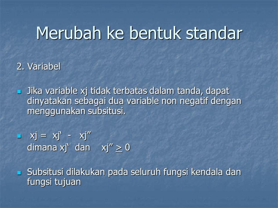 Merubah ke bentuk standar 3.Fungsi tujuan Bentuk Maksimasi = nilai negatif dari minimasi Bentuk Maksimasi = nilai negatif dari minimasi atau sebaliknya