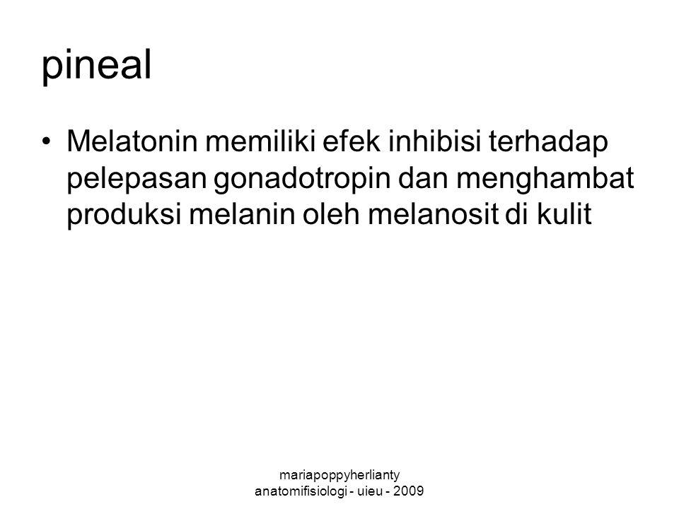 mariapoppyherlianty anatomifisiologi - uieu - 2009 pineal Melatonin memiliki efek inhibisi terhadap pelepasan gonadotropin dan menghambat produksi melanin oleh melanosit di kulit