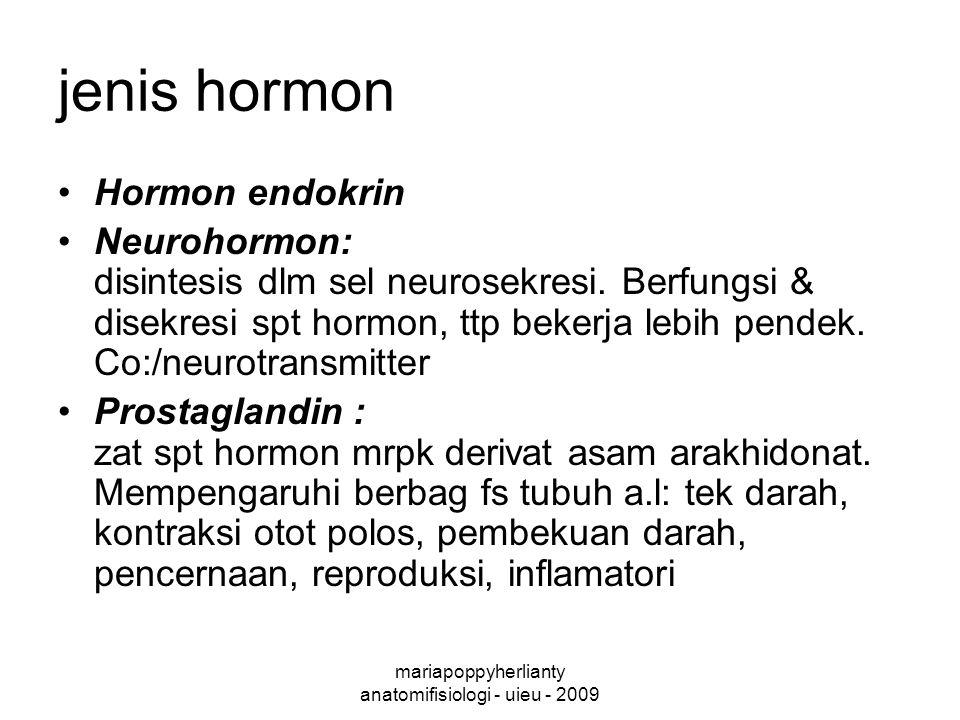 mariapoppyherlianty anatomifisiologi - uieu - 2009 jenis hormon Hormon endokrin Neurohormon: disintesis dlm sel neurosekresi.