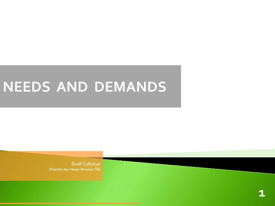 NEEDS AND DEMANDS Budi Sulistyo (Diambil dari Haryo Winarso ITB) 1