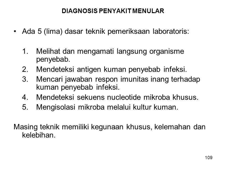 109 DIAGNOSIS PENYAKIT MENULAR Ada 5 (lima) dasar teknik pemeriksaan laboratoris: 1.Melihat dan mengamati langsung organisme penyebab. 2.Mendeteksi an