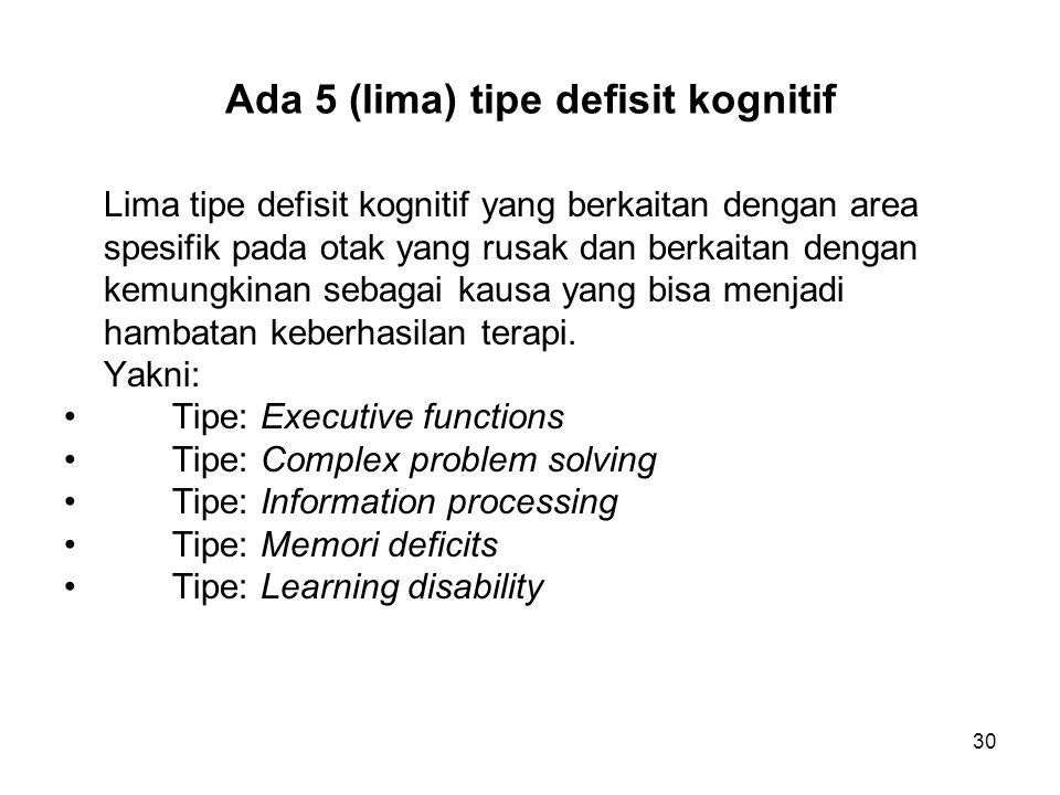 30 Ada 5 (lima) tipe defisit kognitif Lima tipe defisit kognitif yang berkaitan dengan area spesifik pada otak yang rusak dan berkaitan dengan kemungk