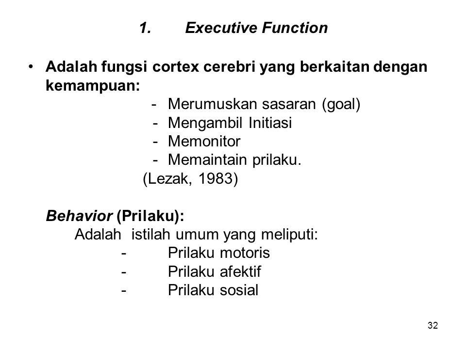 32 1.Executive Function Adalah fungsi cortex cerebri yang berkaitan dengan kemampuan: -Merumuskan sasaran (goal) -Mengambil Initiasi -Memonitor -Memai