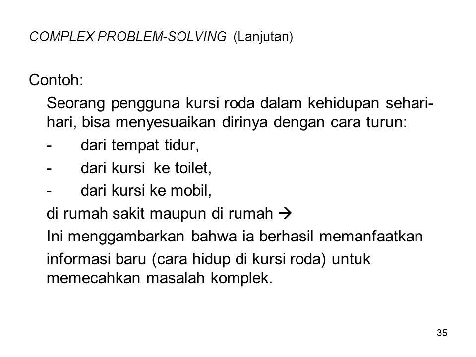 35 COMPLEX PROBLEM-SOLVING (Lanjutan) Contoh: Seorang pengguna kursi roda dalam kehidupan sehari- hari, bisa menyesuaikan dirinya dengan cara turun: -