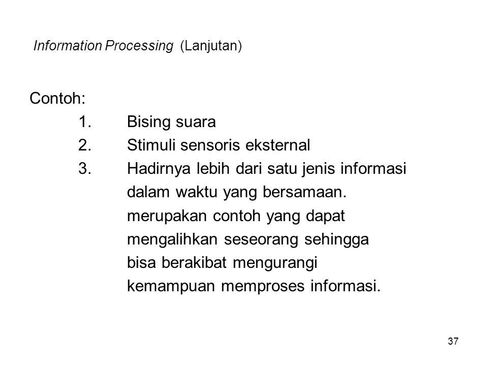 37 Information Processing (Lanjutan) Contoh: 1.Bising suara 2.Stimuli sensoris eksternal 3.Hadirnya lebih dari satu jenis informasi dalam waktu yang b