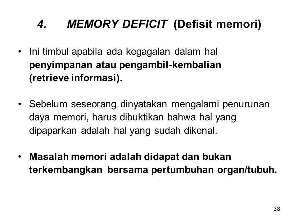 38 4.MEMORY DEFICIT (Defisit memori) Ini timbul apabila ada kegagalan dalam hal penyimpanan atau pengambil-kembalian (retrieve informasi). Sebelum ses