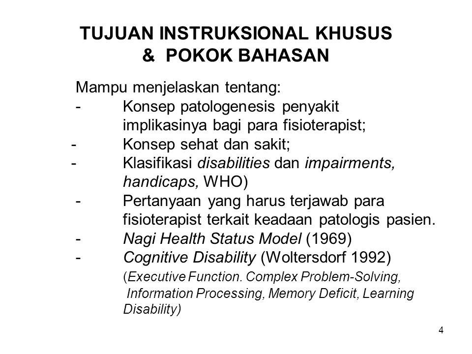 4 TUJUAN INSTRUKSIONAL KHUSUS & POKOK BAHASAN Mampu menjelaskan tentang: -Konsep patologenesis penyakit implikasinya bagi para fisioterapist; -Konsep