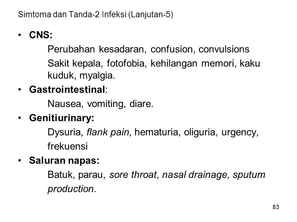 83 Simtoma dan Tanda-2 Infeksi (Lanjutan-5) CNS: Perubahan kesadaran, confusion, convulsions Sakit kepala, fotofobia, kehilangan memori, kaku kuduk, m