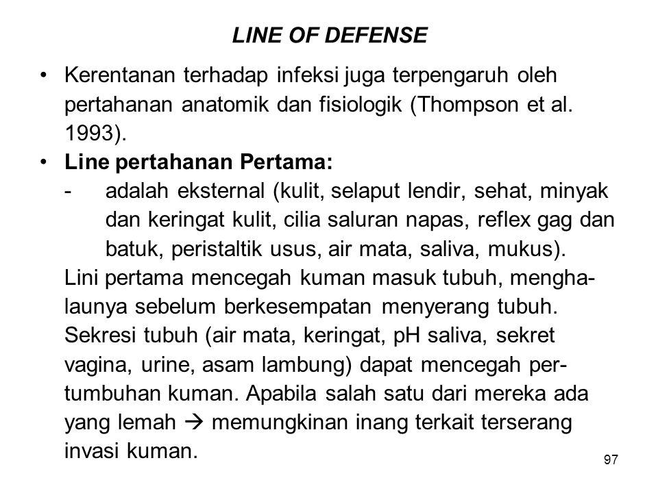97 LINE OF DEFENSE Kerentanan terhadap infeksi juga terpengaruh oleh pertahanan anatomik dan fisiologik (Thompson et al. 1993). Line pertahanan Pertam