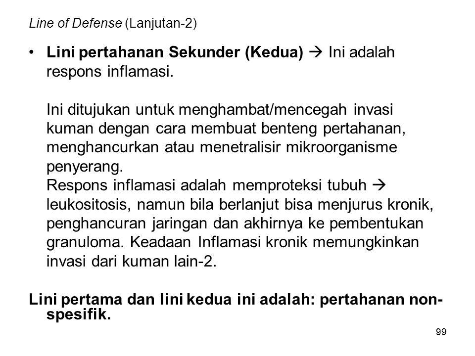 99 Line of Defense (Lanjutan-2) Lini pertahanan Sekunder (Kedua)  Ini adalah respons inflamasi. Ini ditujukan untuk menghambat/mencegah invasi kuman