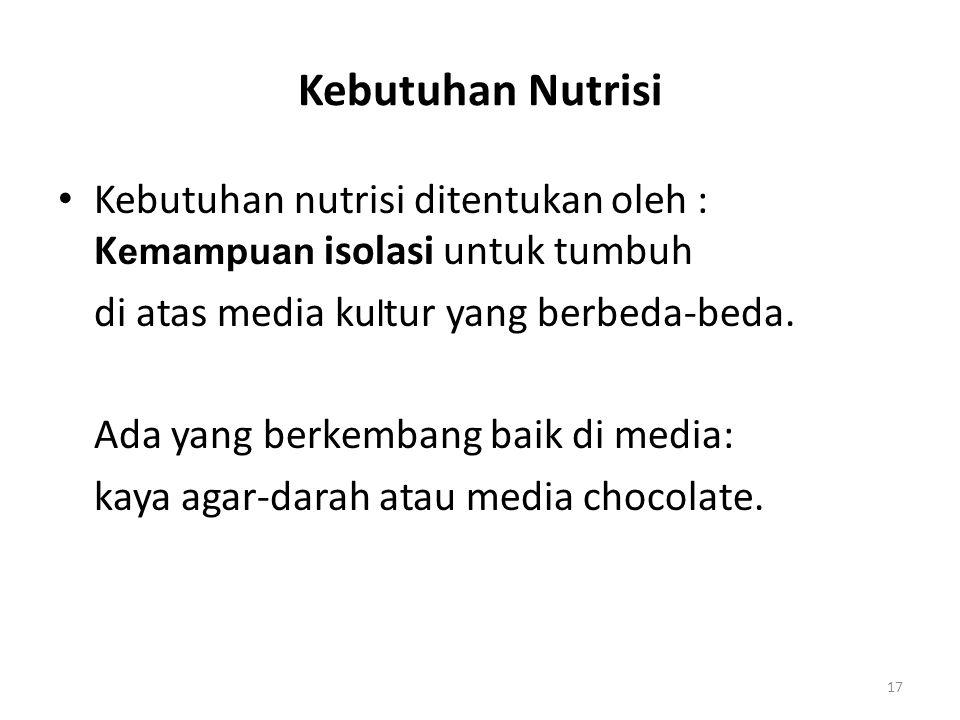 Kebutuhan Nutrisi Kebutuhan nutrisi ditentukan oleh : K emampuan isolasi untuk tumbuh di atas media ku l tur yang berbeda-beda. Ada yang berkembang ba