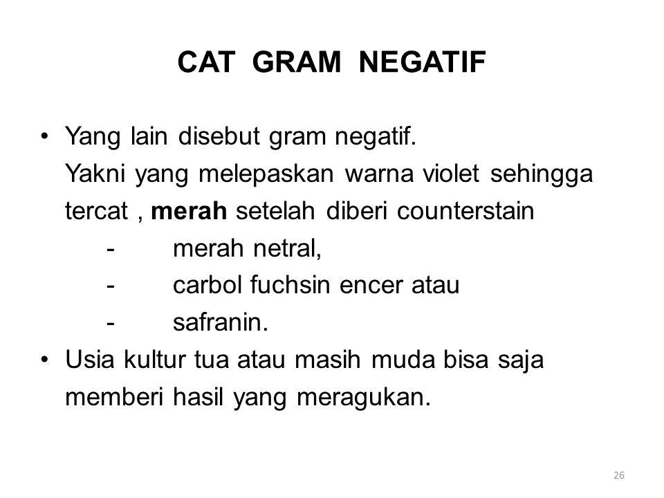 CAT GRAM NEGATIF Yang lain disebut gram negatif. Yakni yang melepaskan warna violet sehingga tercat, merah setelah diberi counterstain -merah netral,