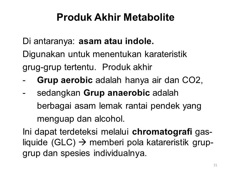 Produk Akhir Metabolite Di antaranya: asam atau indole. Digunakan untuk menentukan karateristik grug-grup tertentu. Produk akhir -Grup aerobic adalah