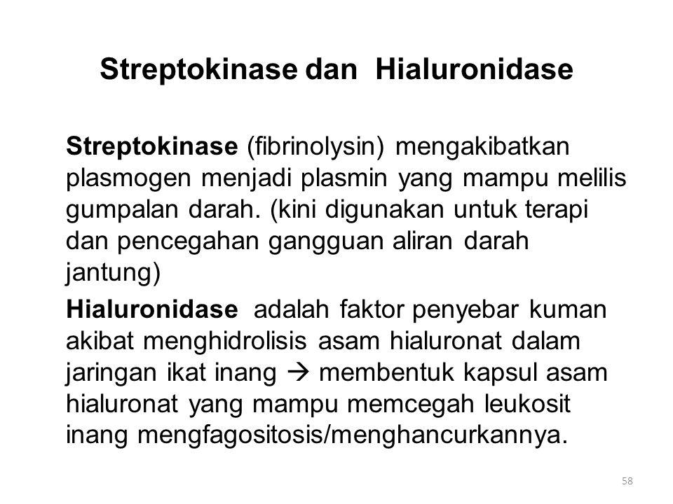 Streptokinase dan Hialuronidase Streptokinase (fibrinolysin) mengakibatkan plasmogen menjadi plasmin yang mampu melilis gumpalan darah. (kini digunaka