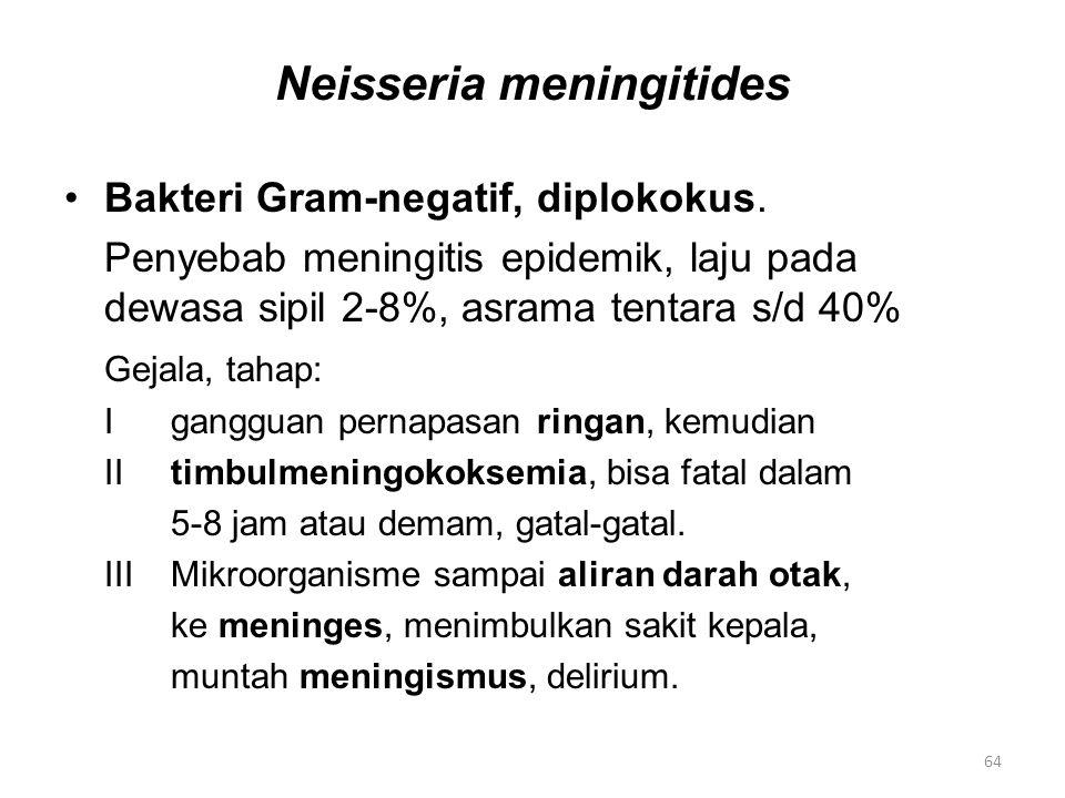 Neisseria meningitides Bakteri Gram-negatif, diplokokus. Penyebab meningitis epidemik, laju pada dewasa sipil 2-8%, asrama tentara s/d 40% Gejala, tah